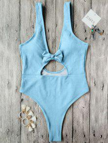 Bowknot Textured High Cut One Piece Swimsuit - Light Blue S