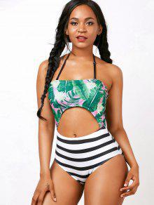 Palm Striped Cut Out Backless Halter Swimwear - Xl