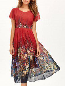 فستان مريح بوهيمي طباعة الأزهار متدفق ميدي - أحمر M