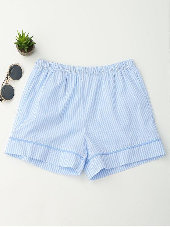 Bolsos cintura elástica shorts listrados - Listras XL