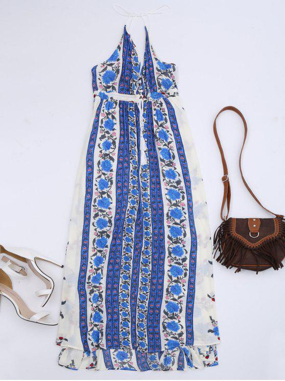 Empire Waist Floral Slit Beach Dress - Floral S