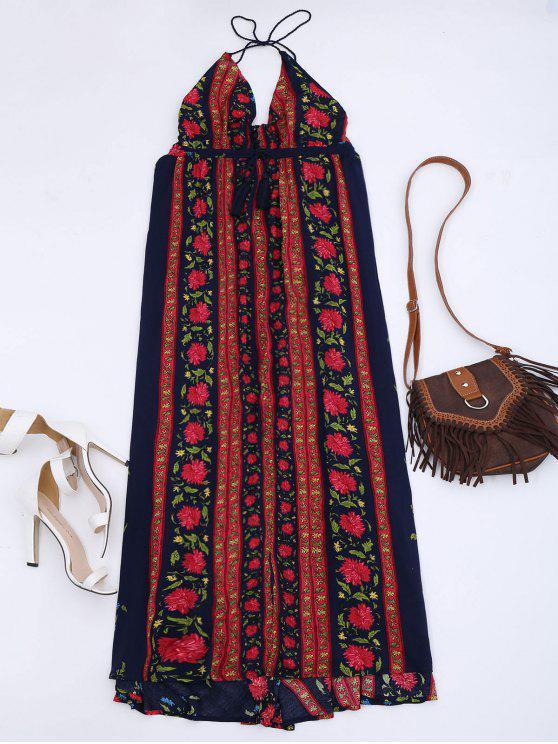 فستان زهري فضفاض امبراطورية الخصر ماكسي - الأزهار L