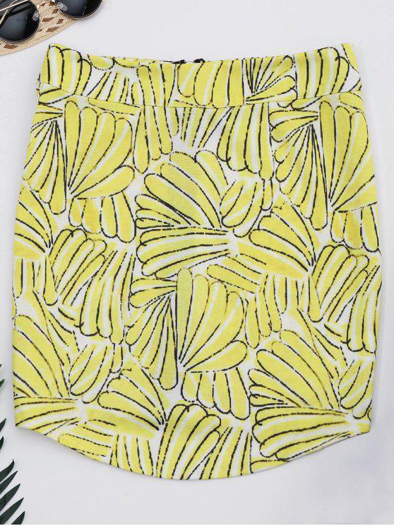 A تنورة طباعة بسحاب بخط - الأزهار 2XL
