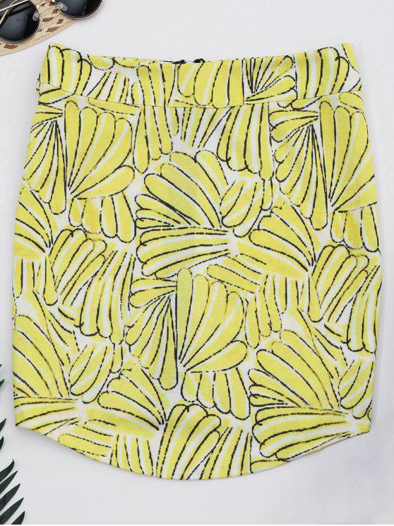 ladies Printed Zip Up A-Line Skirt - FLORAL M
