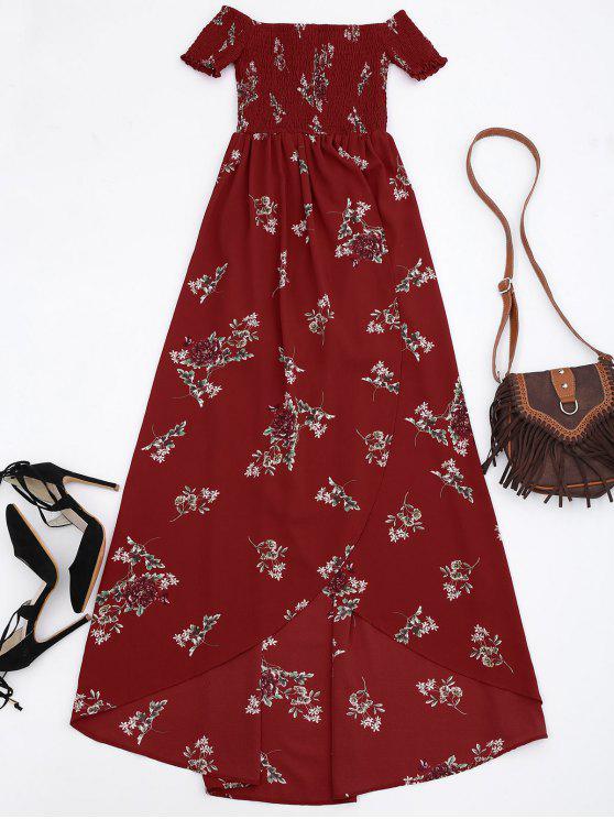 off shoulder floral shirred asymmetric maxi dress red