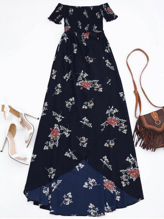 trendy Off Shoulder Floral Shirred Asymmetric Maxi Dress - CADETBLUE M