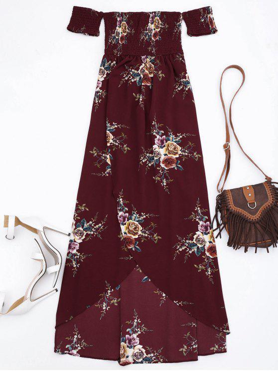 affordable Slit Floral Shirred Waist Maxi Tube Dress - BURGUNDY L