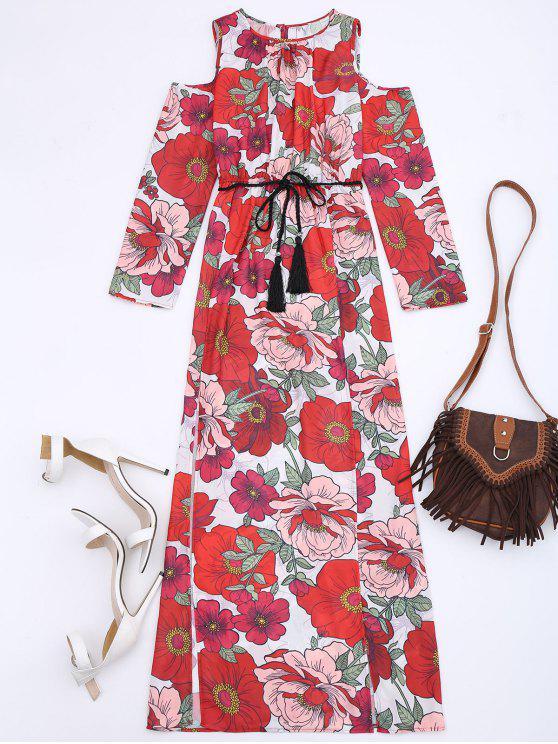Maxi Kleid mit Blumenmuster und Kalter Schulter - Blumen M