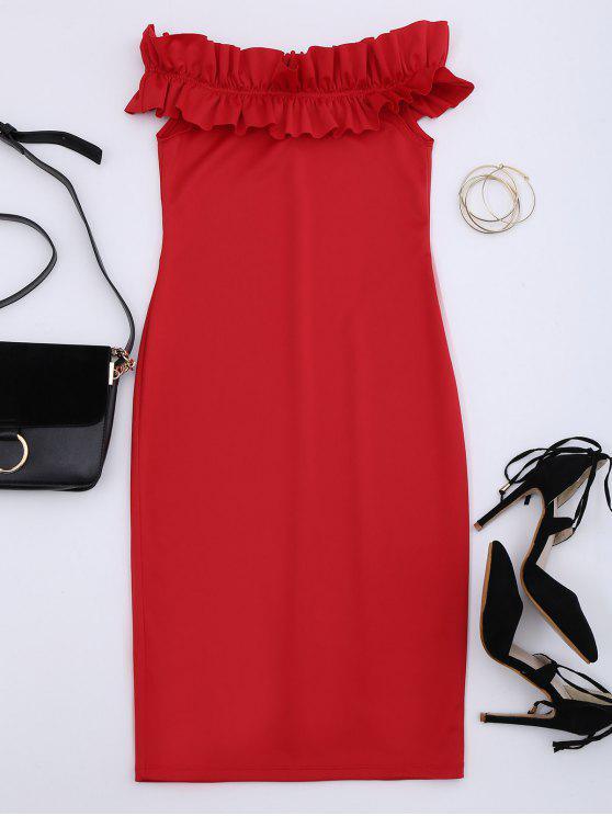 Robe collante à épaules tombantes avec falbalas - Rouge L