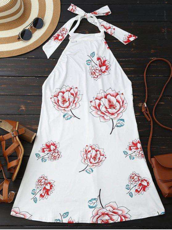 Robe Imprimé Floral à Col Halter Dos Nu - Blanc L