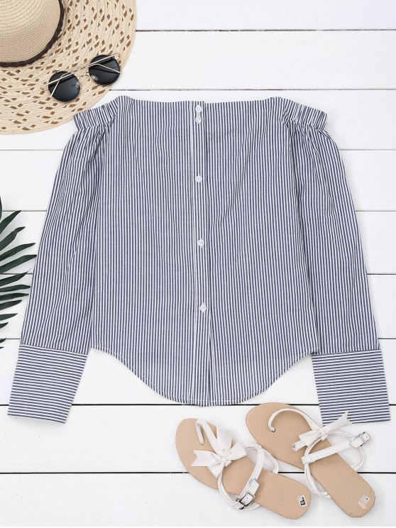 fashion Bow Tied Striped Off Shoulder Shirt - STRIPE 2XL