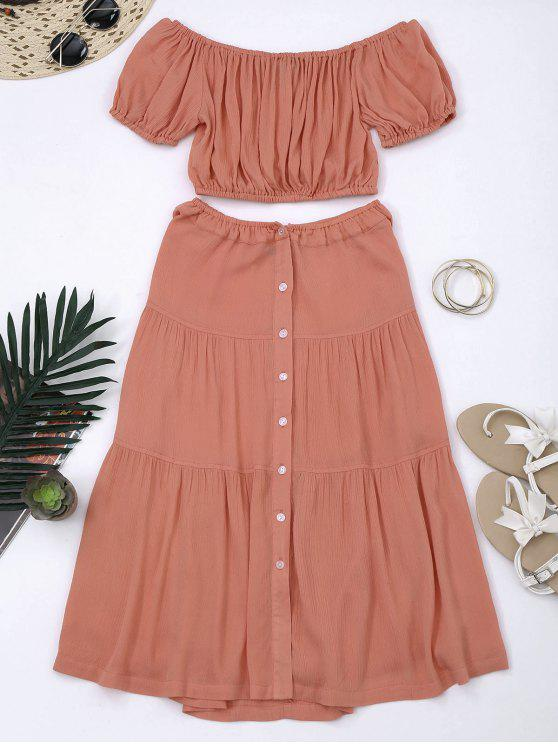 Recortado Top hombros y Buttun hasta una línea de falda - Naranja Rosa 2XL