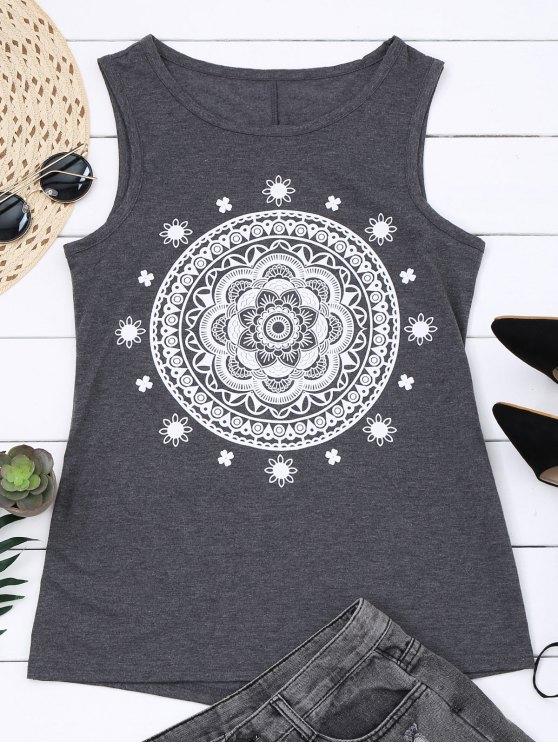 Camiseta de algodón con estampado de algodón - Gris 2XL