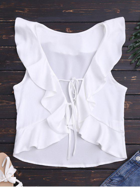buy Front Tie Ruffles Cropped Tank Top - WHITE M