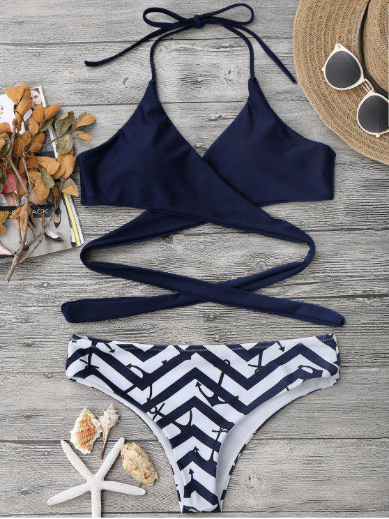 chic Zig Zag Anchor Wrap Bikini - PURPLISH BLUE L