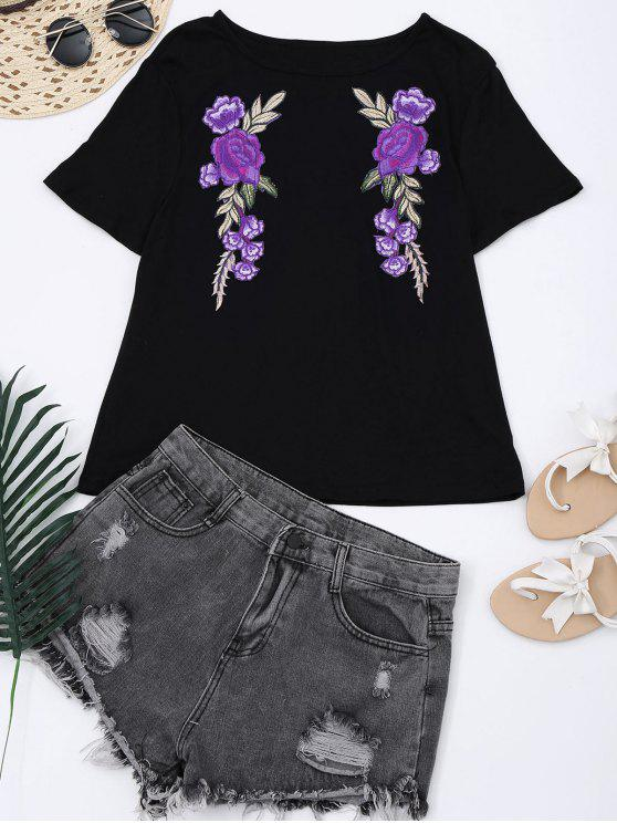 Camiseta con remiendo floral del algodón - Negro L