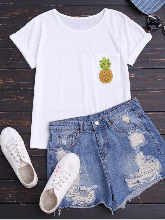 T-shirt en coton imprimé ananas avec poche - Blanc 2XL