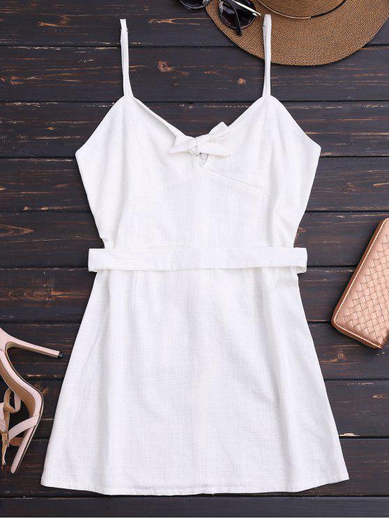 Slip bowknot cinturón mini vestido - Blanco S