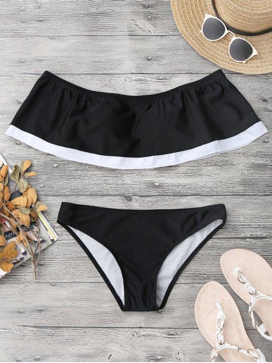 womens Overlay Color Block Off Shoulder Bikini - BLACK S