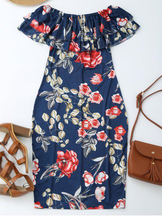 Vestido de Vaina con Estampado de Flores con Hombros al Aire con Volantes - Floral S