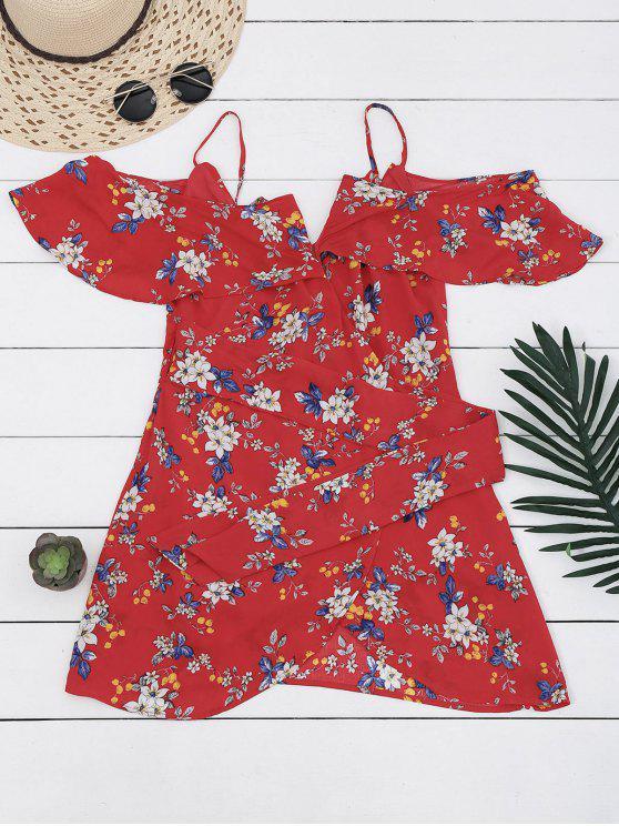 الزهور الباردة الكتف التفاف اللباس مصغرة - الأزهار XL
