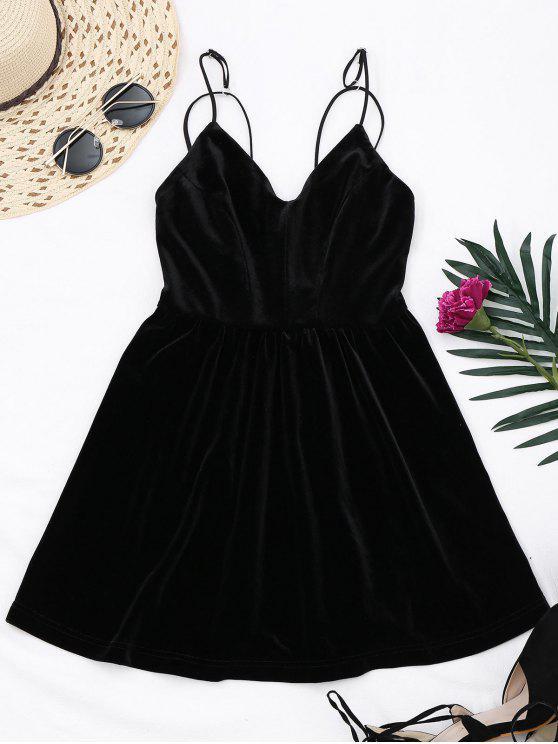 fashion Criss Cross Strappy Slip Velvet Dress - BLACK S