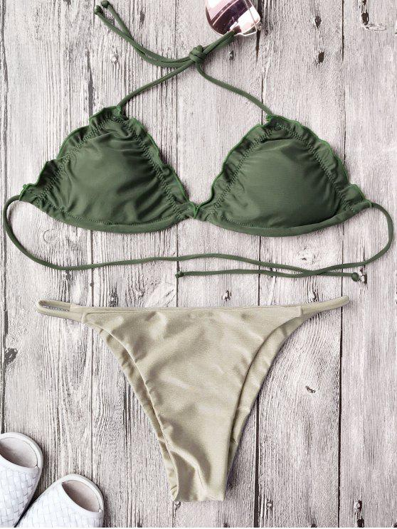 online Frilled Padded String Bikini Set - KHAKI M