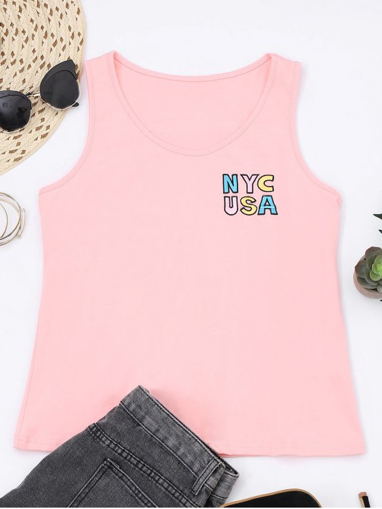 latest Printed Letter Embroidered Cotton Tank Top - PINK 2XL