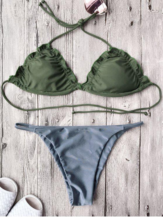 latest Frilled Padded String Bikini Set - BLUE S