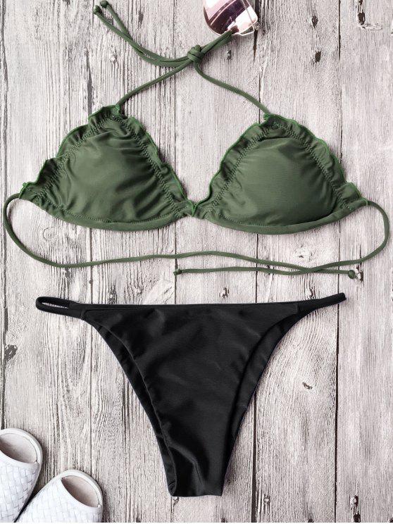 fancy Frilled Padded String Bikini Set - BLACK S