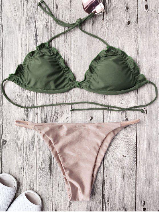 unique Frilled Padded String Bikini Set - PINK XL