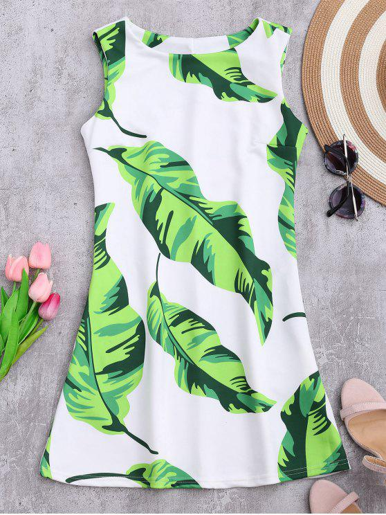 affordable Sleeveless Tropical Leaf Print Dress - WHITE S