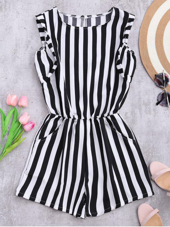 women's Sleeveless Striped Romper With Pockets - STRIPE L