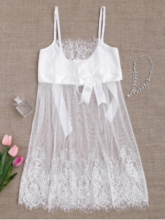lady Mesh Bowknot Lace Babydoll with Thong Panties - WHITE XL