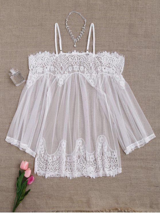 hot Mesh Cami Lace Panel Babydoll with Panties - WHITE ONE SIZE