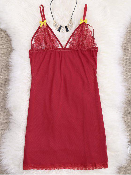 فستان النوم شبكي دانتيل لوحة مع تونغ - أحمر M
