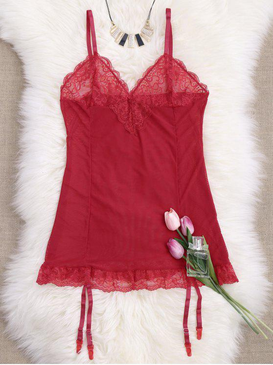 affordable Cami Lace Panel Babydoll with Thong Panties - RED M