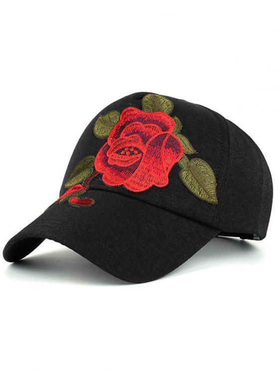 Cappello Da Baseball Ricamato A Peonia Appariscente - Nero