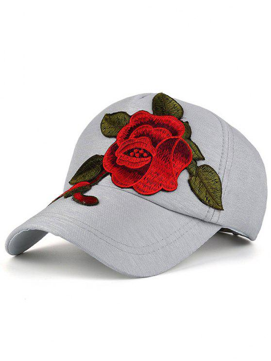 Cappello Da Baseball Ricamato A Peonia Appariscente - Grigio
