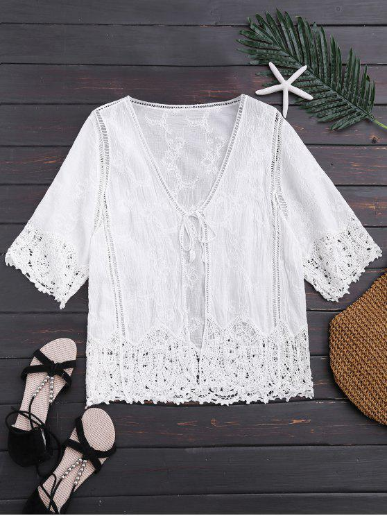fashion Open Front Lace Beach Top - WHITE ONE SIZE