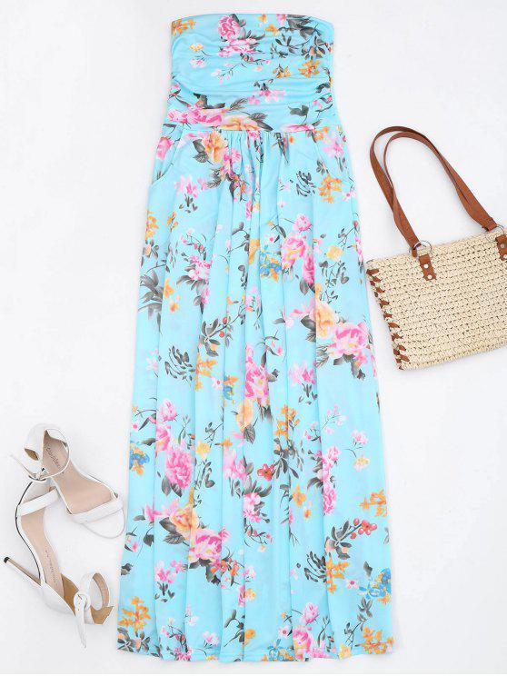 hot Ruched Floral Maxi Tube Dress With Pocket - FLORAL XL