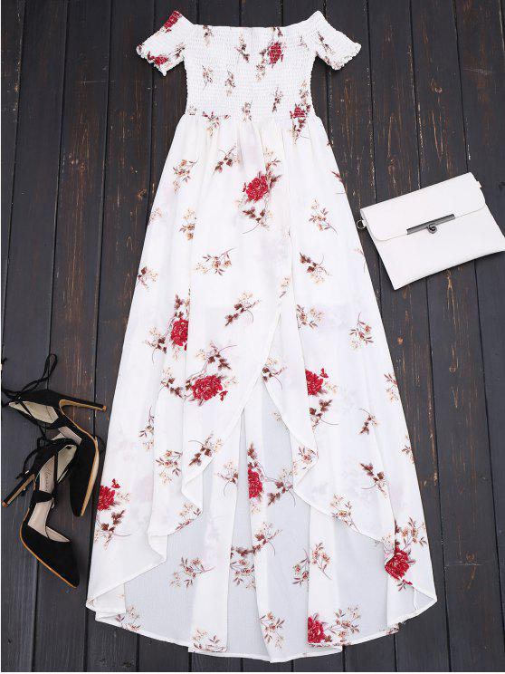 new Off Shoulder Floral Shirred Asymmetric Maxi Dress - WHITE L