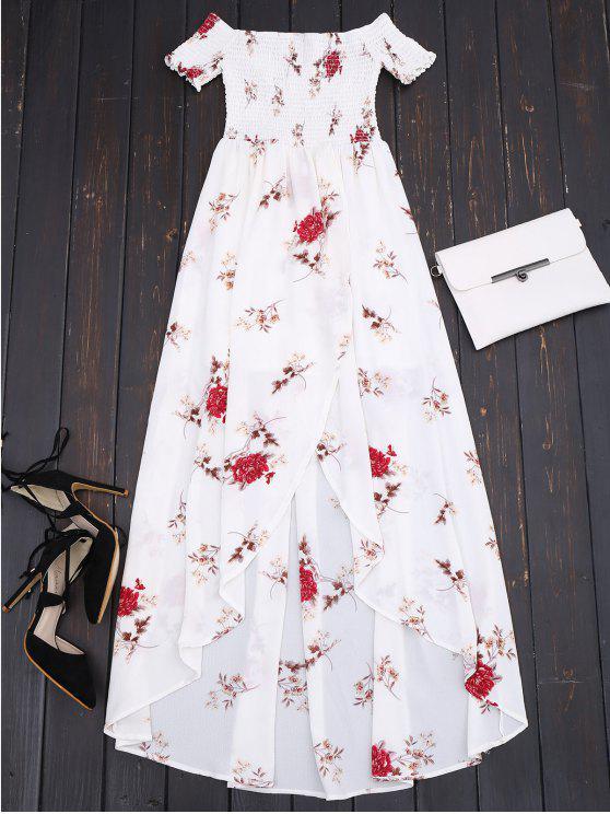 hot Off Shoulder Floral Shirred Asymmetric Maxi Dress - WHITE M