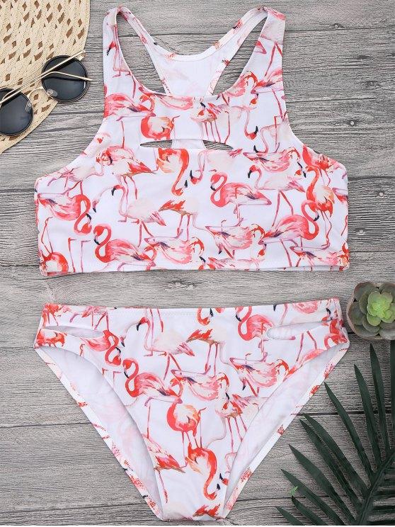 women's Flamingo Cutout Racerback High Neck Bikini Set - WHITE L