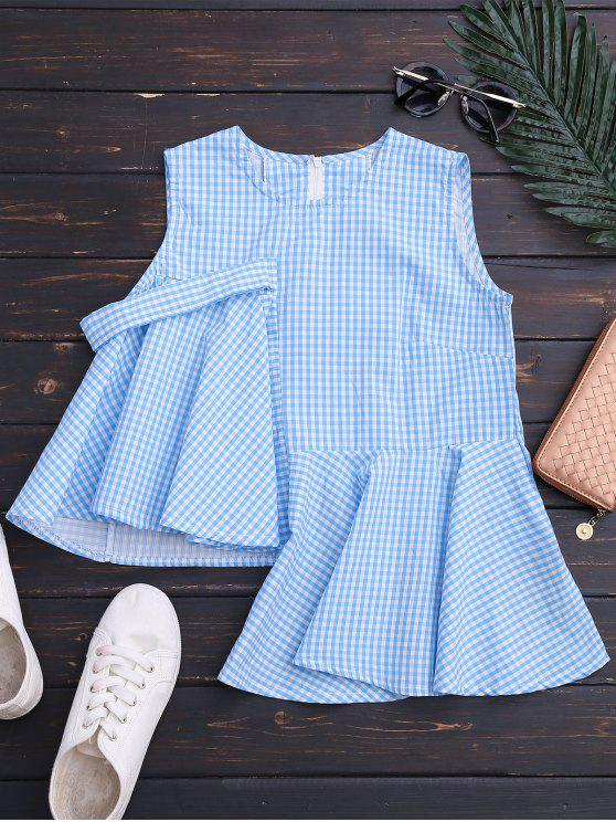unique Sleeveless Asymmetric Plaid Top - BLUE L