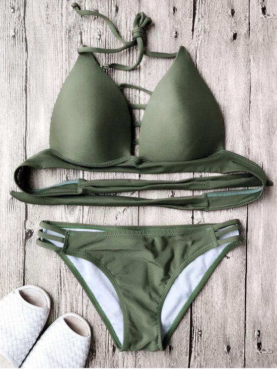 best Fuller Bust Molded Cup Bikini Set - ARMY GREEN L
