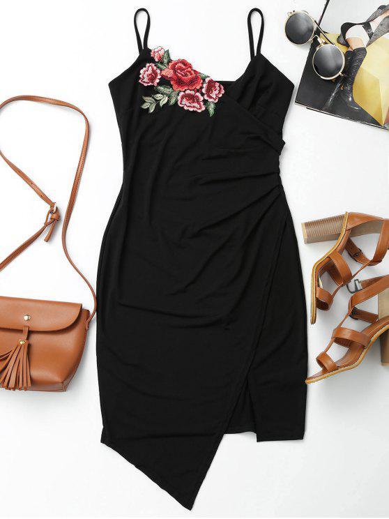 affordable Floral Patched Asymmetrical Surplice Dress - BLACK L