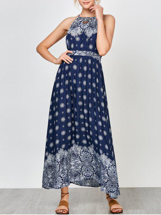 outfits Criss Cross Backless Empire Waist Floral Maxi Dress - CADETBLUE M