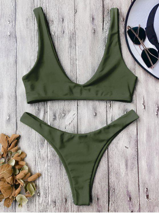 affordable High Cut Scoop Bikini Set - ARMY GREEN M