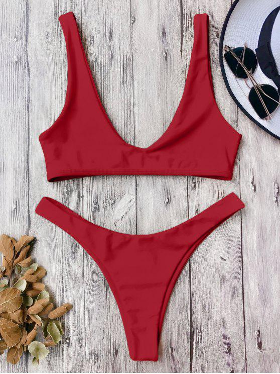 trendy High Cut Scoop Bikini Set - RED M